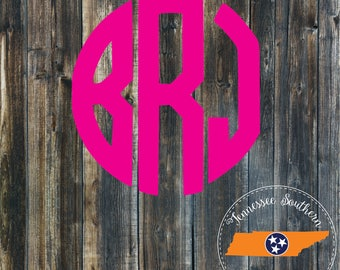Circle Monogram Decal | Monogram Decal | Monogram | Phone Decal | Car Decal | Window Decal | Laptop Decal | Yeti Decal | Tumbler Decal