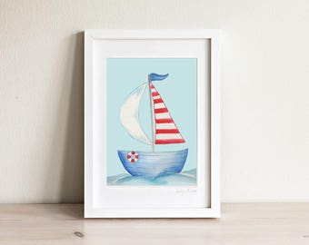 Sailboat Art, Sailboat Print, Kids Boat Art, Kids Beach Art, Nautical Nursery, Nautical Kids Print, Kids Gift, Kids Art, Kids Prints, Framed