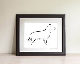 Framed Golden Retriever Art Print, Golden Retriever Line Drawing, Dog lover gift, Minimalist Line Art, Modern Line Drawing, 5 x 7, 8 x 10