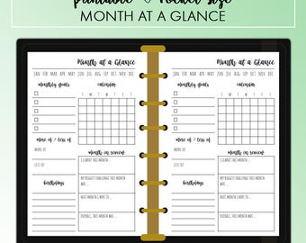 POCKET Month at a Glance Month on One Page MO1P Planner Insert Printable | Fits Kikki K Small & Filofax Pocket Instant Download