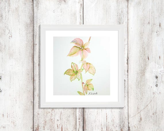 Little picture with pink maple leaves, romantic and elegant home decoration, special gift idea for her, square picture for bedroom or living