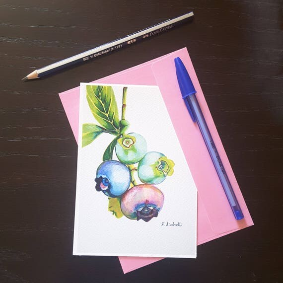 Blueberries, giclee fine art print, A6, still life, original painting, wall art, home office decoration for kitchen or restaurant, art card.