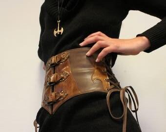 leather waist cincher. wide waistband; waist cincher; wide leather belt; medieval belt