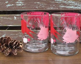 unique foodie gift vodka themed gift absolut raspberri vodka gift fun vodka tumblers drinking set xmas gift valentines gift upcycled glass