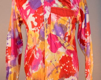 The Wear of The West Multi Color Button Front M Medium Western 100% Cotton