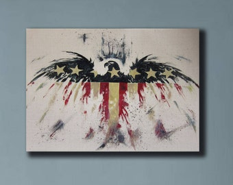 Art Oil Painting-American Flag oil painting - Contemporary Home Decor - Americana-Wall Art