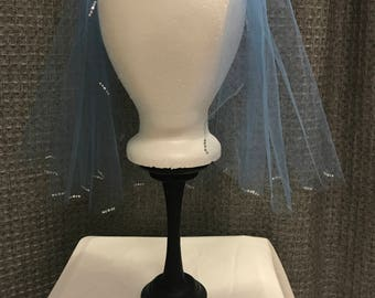 Short Blue Veil with Crystals