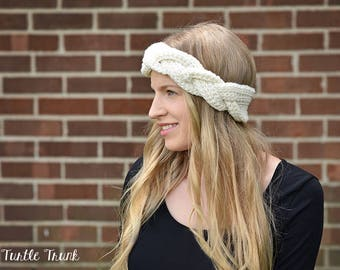 Crochet Braided Headband, Braided Ear Warmer, Color Cream