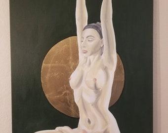 Yoga Meditation Painting, Acrylic painting, Original painting Acrylic art, Naked Art, Naked Painting