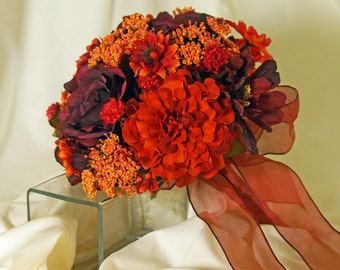 Orange and Burgundy Brides Bouquet, Zinnia, Aster and Rose Brides Bouquet, Burgundy and Orange Wedding Bouquet,  Brides Wedding Bouquet
