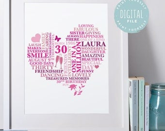 Personalised 30th Birthday Gift for Her | Printable File | Personalized Word Art Gift for 30 Years Birthday | Thirty Birthday Gift for women