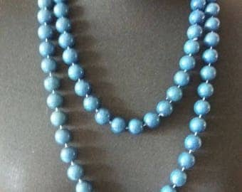 Vintage 1950s Double Strand Blue Necklace