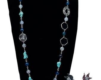 Women's long agate necklace set 'Hauwa'