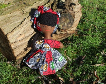 Baby Shower Gift Girls Doll African Doll Rag Doll Kids Birthday Present Girl Multicultural Doll Black Doll Cultural Toys African Print Toy