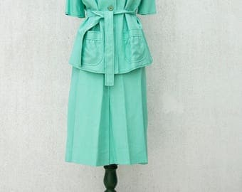 Vintage 1950s Suit - Woman suit, jacket and skirt - Hand-made dress - Blue-green color