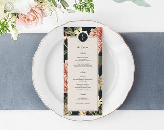 Wedding Menu, Menu Template, Menu, Printable Menu, Menu Card, Menu Printable, Vintage Floral Menu, Menu Card, Wedding printables, #VCS