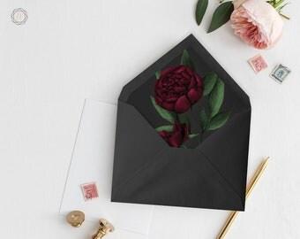 Envelope Liners, Printable Liner, Floral Envelope Liner, Marsala Wedding, Marsala Envelope Liner, A7 Envelope Liner, Instant Download, #BPS