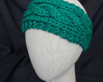 Teal Hand Knit, Cabled Headband; Baby, Toddler, Kid