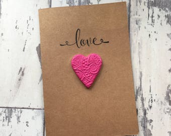 Love Heart Greeting Card - heart card, wedding card, valentines card, anniversary card, greeting card, blank card, hand stamped