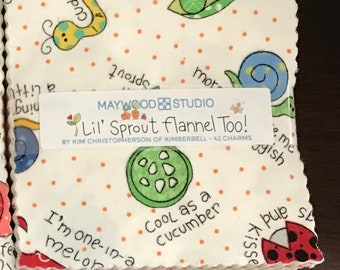 Charm Pack - Lil' Sprout Flannel Too! - Maywood Studios - 42 Pieces