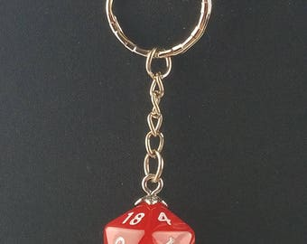 D20 Dice Dungeons & Dragons RPG Fantasy Red Swirl Keychain