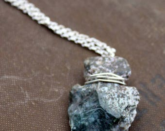 Blue and Gray Arrowhead Necklace