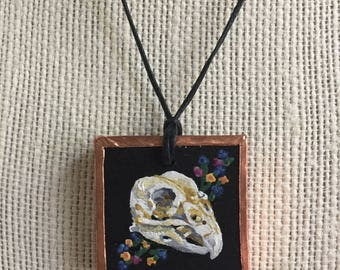 Bird painting necklace, Bird skull jewelry, Handpainted bird pendant, Unique gift for her, Handmade miniature painting, Gothic jewelry