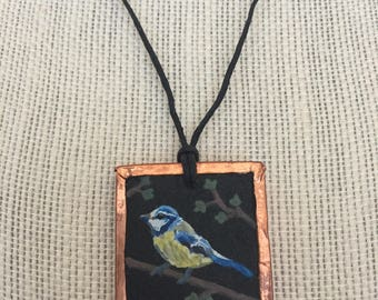 Handpainted bird pendant, Blue bird necklace, Nature art jewelry, Unique jewelry gift, Artistic holiday gift, Nature lover gift