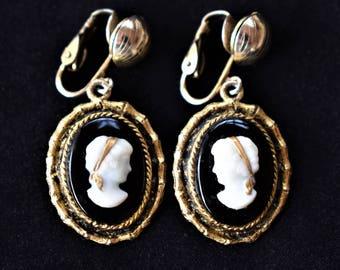 "Vintage Ornate Cameo Dangle Earrings Clip On B&W Gold Tone Delicate Retro Costume Jewelry 1.5"""