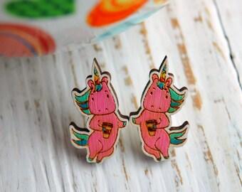 """Wooden Earrings """"Coffee Unicorn"""", Pink Earrings, White Earrings, Cute Wooden Earrings, Hand Painted, laser cutted wooden earrings"""