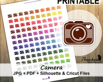 50% SALE, Camera Printable Planner Stickers, Erin Condren Planner Stickers, Camera Stickers, Printable Stickers, Camera - Cut Files