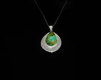 Chrysocolla Necklace, Handmade Silver Chrysocolla Necklace, Filigree Necklace, Gemstone Necklace, NJ0051