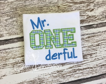 Personalized Mr. ONEderful Birthday Shirt