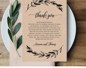 Wedding thank you note thank you card thank you letter in printable wedding thank you letter reception thank you note in lieu of favor card spiritdancerdesigns Image collections