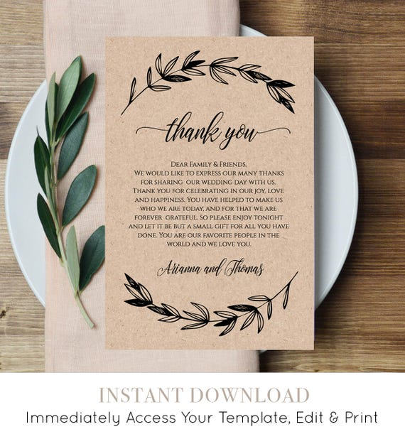 Printable Wedding Thank You Letter, Reception Thank You Note, In Lieu of Favor Card, 100% Editable, Instant Download, Digital #023-102TYN