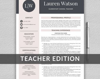 Teacher Resume Template For Word | 1 And 2 Page Resume Template + Cover  Letter +