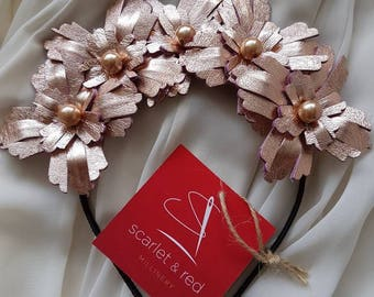 Metallic rose gold genuine leather flower crown / headband / fascinator, ideal for a bride / bridesmaid / flower girl, or the races
