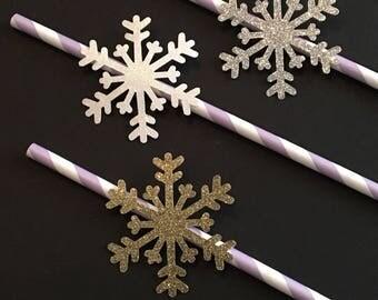 12 Snowflake Straws Glitter Straws Elsa Straws Frozen Birthday Straws Winter Straws Baby Shower Straws Snowflake Decor Purple White