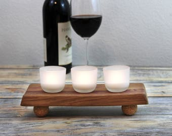 Wood Candle Holders - Hostess Gift Ideas- Thank You Gifts - Candle Centerpieces - Wine Barrel Staves - Tea Light Holders - Wine Barrel Decor