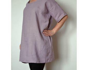 Plus size linen tunic, linen blouse, linen tunic, plus size linen, loose linen top, blouse, womens blouse, kimono blouse, linen top sleeves