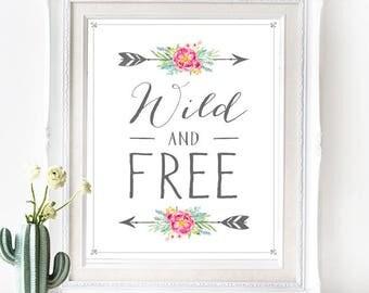 Wild & Free Poster - INSTANT DOWNLOAD - Printable Southwest Native American Bohemian inspired Digital Art Print Wedding Art, Pastel Boho