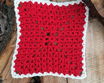 Set of 2 Red & White Dishcloths