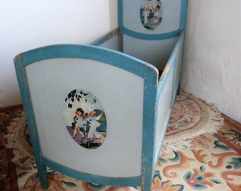 1920s Children's Cot, Original Painted Wooden Cot with charming motifs, Display Cot for dolls and bears or shop window!  (Stock #5646)
