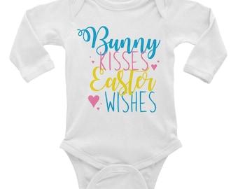 Bunny Kisses Easter Wishes - Bunny Kisses - Easter Wishes - Easter Onesie - Easter Shirt - First Easter Onesie - Infant Long Sleeve Bodysuit