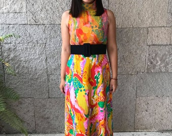 Vintage psychedelic 70's // Jack Bryan dress // Colourful 2 pieces set // Size small // Women