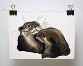 Snuggling Otters Print- Free Shipping!