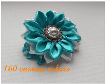 Satin French Barrette/Kanzashi hair clip with white and turquoise flower/Satin Flower Hair clip/Hair accessory