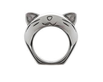Rhodium Plated Cute Kitty Ring - Neve