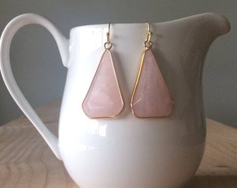 Rose Quartz Drop Earrings, Triangular