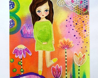Pregnancy painting - Mixed media collage - Original pregnancy art - Abstract painting - mum to be - Wall art - Baby shower gift